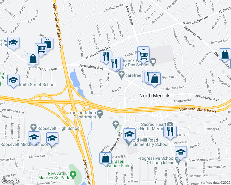 map of restaurants, bars, coffee shops, grocery stores, and more near 1380 Noel Court in Merrick