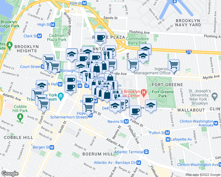 map of restaurants, bars, coffee shops, grocery stores, and more near 138 Willoughby Street in Brooklyn