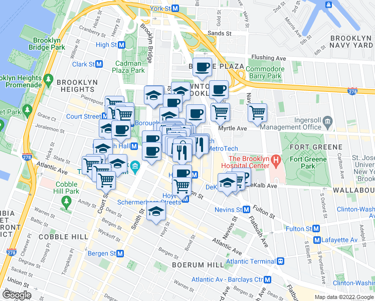 map of restaurants, bars, coffee shops, grocery stores, and more near 70 Willoughby Street in Brooklyn