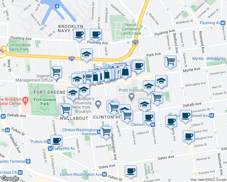 map of restaurants, bars, coffee shops, grocery stores, and more near 185 Hall Street in Brooklyn