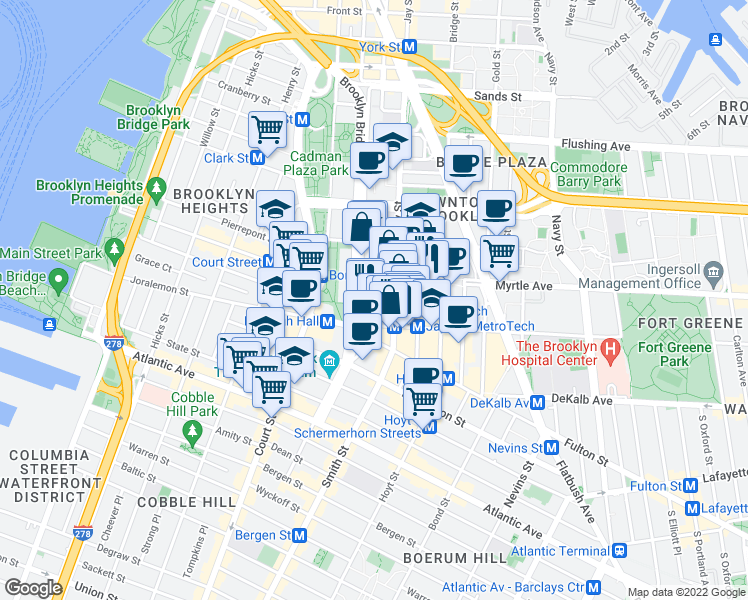 map of restaurants, bars, coffee shops, grocery stores, and more near Pearl Street in Brooklyn