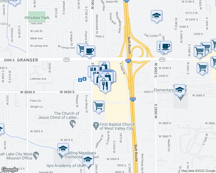 map of restaurants, bars, coffee shops, grocery stores, and more near 3601 Constitution Boulevard in West Valley City