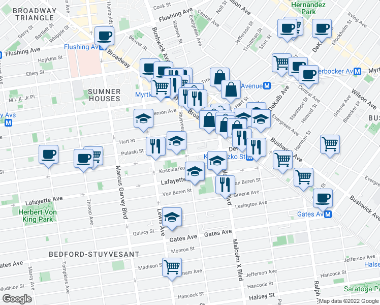 map of restaurants, bars, coffee shops, grocery stores, and more near 1035A Dekalb Avenue in Brooklyn