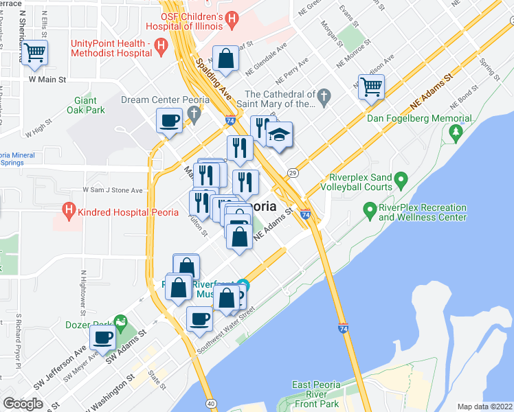 map of restaurants, bars, coffee shops, grocery stores, and more near in Peoria