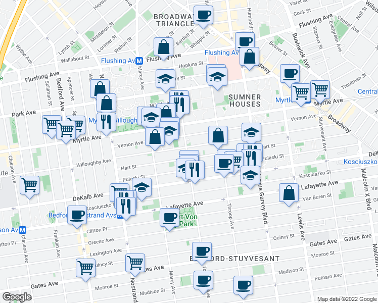 map of restaurants, bars, coffee shops, grocery stores, and more near 159 Tompkins Avenue in Brooklyn