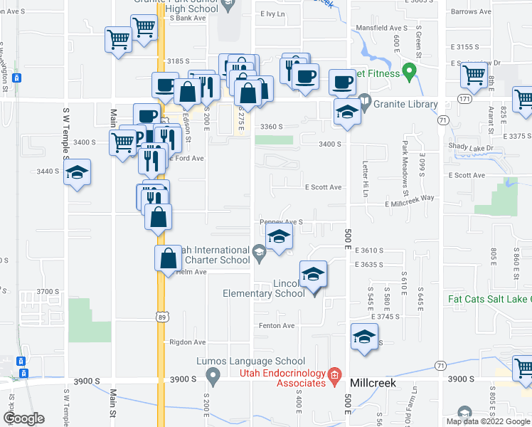 map of restaurants, bars, coffee shops, grocery stores, and more near 3511 South 300 East in South Salt Lake