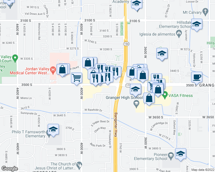 map of restaurants, bars, coffee shops, grocery stores, and more near 3865 West 3500 South in Salt Lake City