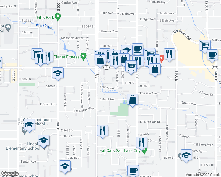 map of restaurants, bars, coffee shops, grocery stores, and more near 3379 South 775 East in Millcreek