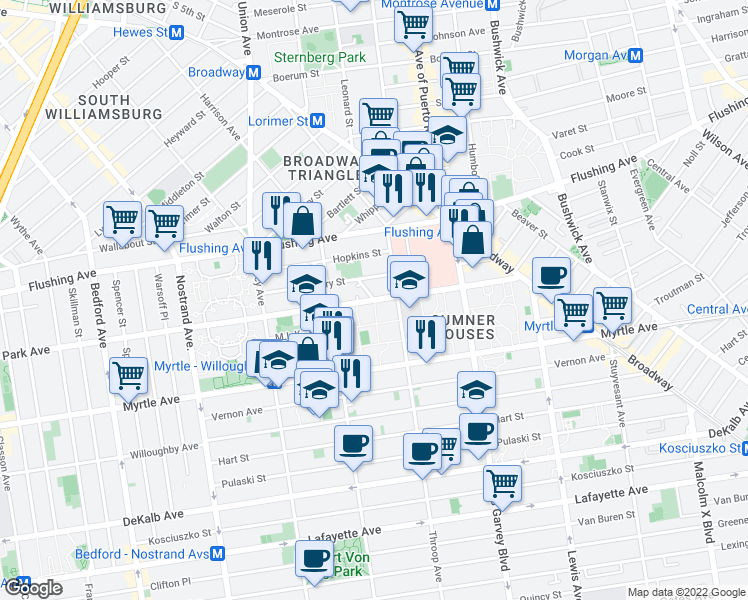 map of restaurants, bars, coffee shops, grocery stores, and more near Park Ave & Delmonico Pl in Brooklyn