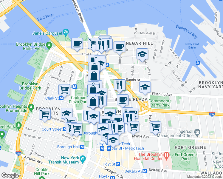 map of restaurants, bars, coffee shops, grocery stores, and more near York Street in Brooklyn