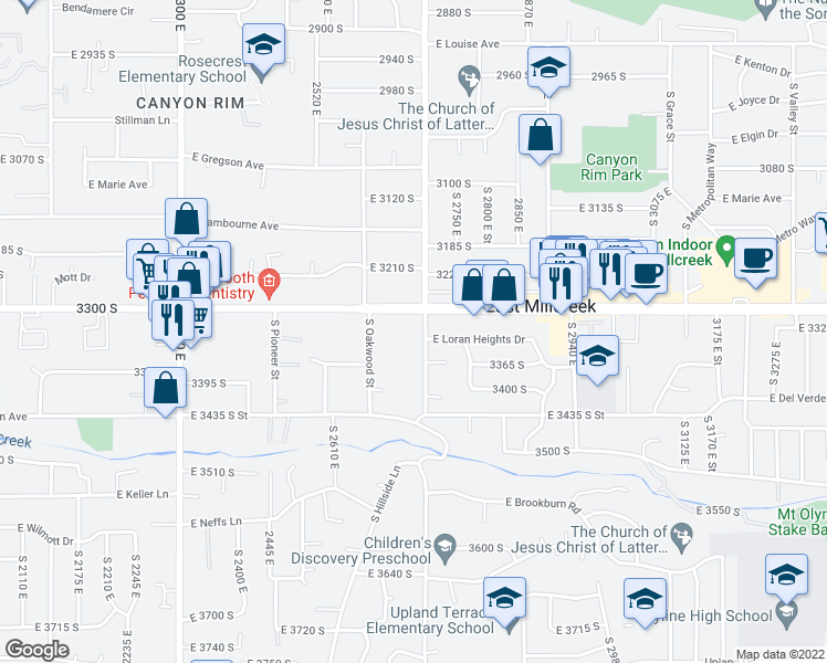 map of restaurants, bars, coffee shops, grocery stores, and more near 3330 South 2700 East in Salt Lake City