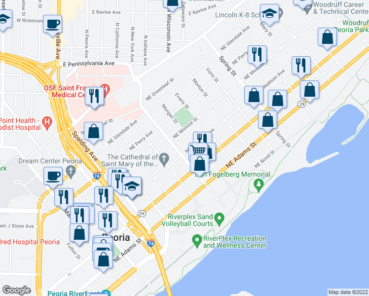 map of restaurants, bars, coffee shops, grocery stores, and more near 809 Northeast Madison Avenue in Peoria