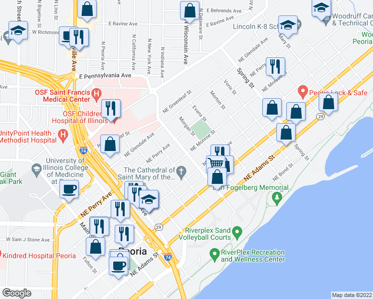 map of restaurants, bars, coffee shops, grocery stores, and more near 801 Northeast Monroe Street in Peoria