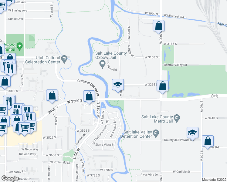 map of restaurants, bars, coffee shops, grocery stores, and more near Jordan River Parkway Trail in West Valley City