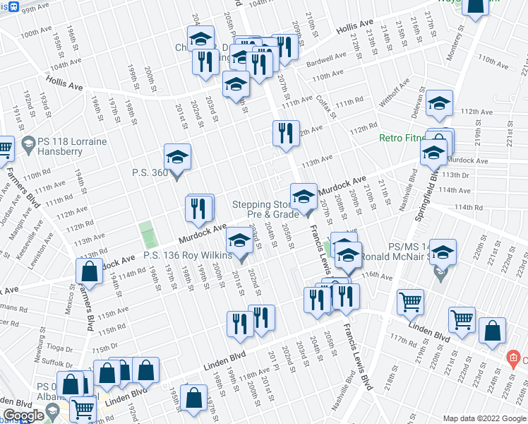map of restaurants, bars, coffee shops, grocery stores, and more near 204th Street in Queens