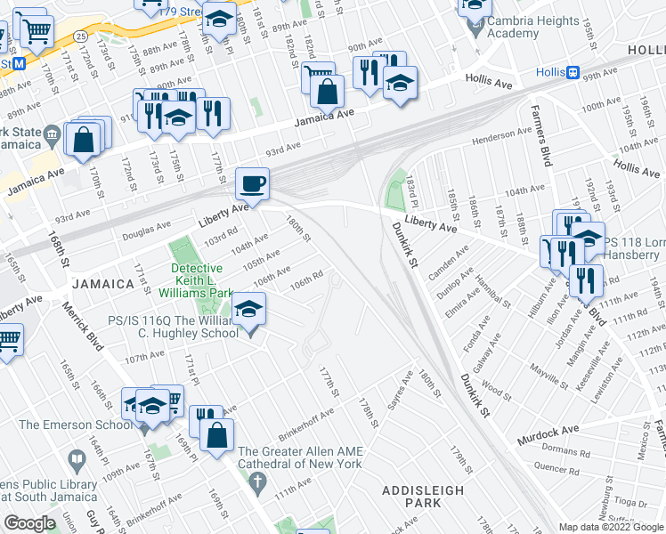 map of restaurants, bars, coffee shops, grocery stores, and more near 106th Road in Queens