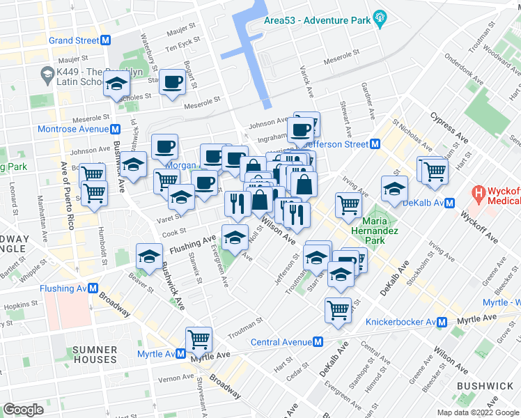 map of restaurants, bars, coffee shops, grocery stores, and more near 1012 Flushing Avenue in Brooklyn