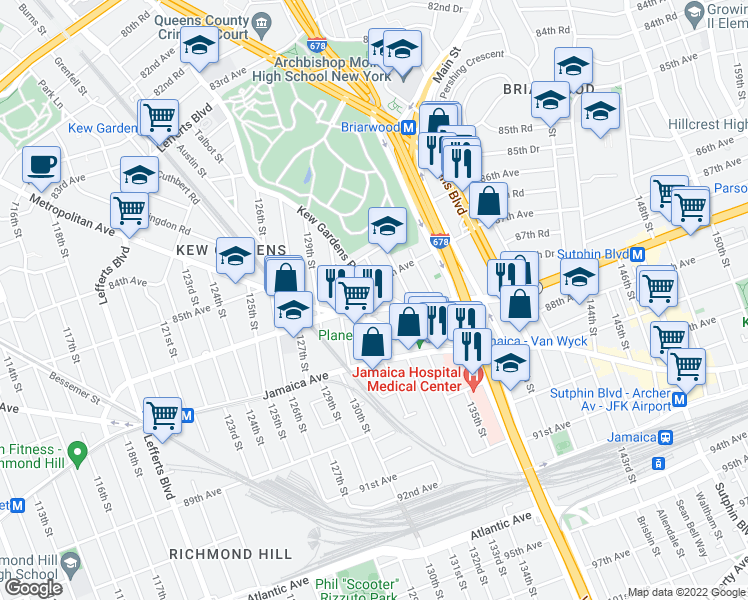 map of restaurants, bars, coffee shops, grocery stores, and more near 131-13 Hillside Avenue in Queens