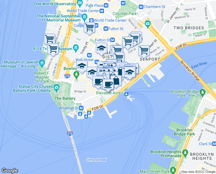 map of restaurants, bars, coffee shops, grocery stores, and more near Water St & Hanover Square in New York