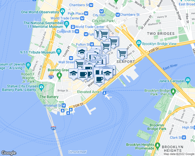 map of restaurants, bars, coffee shops, grocery stores, and more near 124 Water Street in New York
