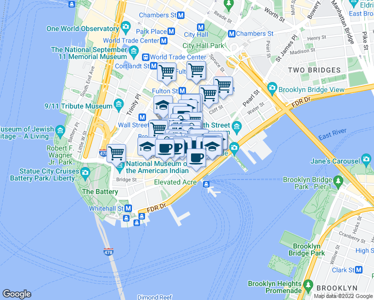map of restaurants, bars, coffee shops, grocery stores, and more near 5 Hanover Street in New York