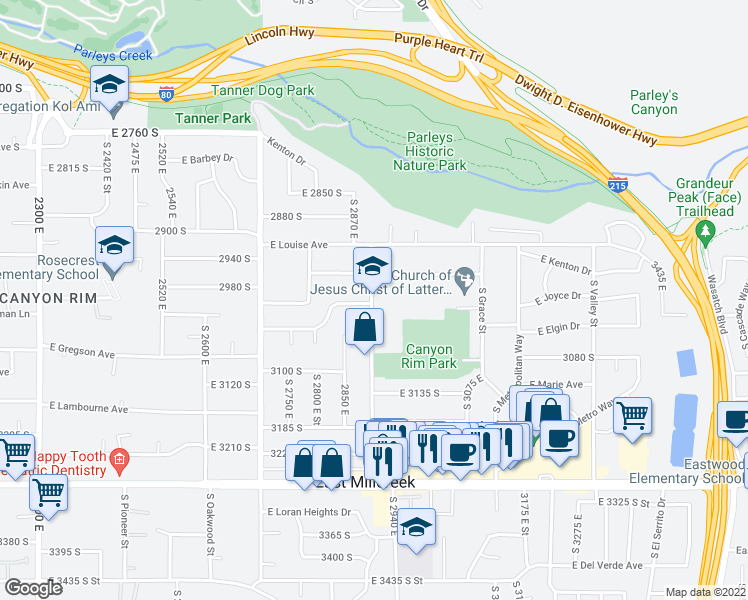 map of restaurants, bars, coffee shops, grocery stores, and more near 3041-3051 South 2900 East in Salt Lake City
