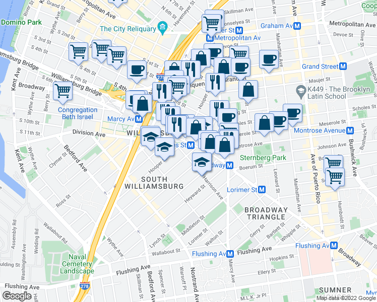 map of restaurants, bars, coffee shops, grocery stores, and more near 429 Broadway in Brooklyn