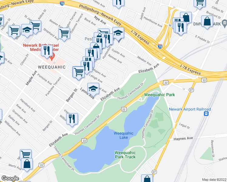 map of restaurants, bars, coffee shops, grocery stores, and more near None in Newark