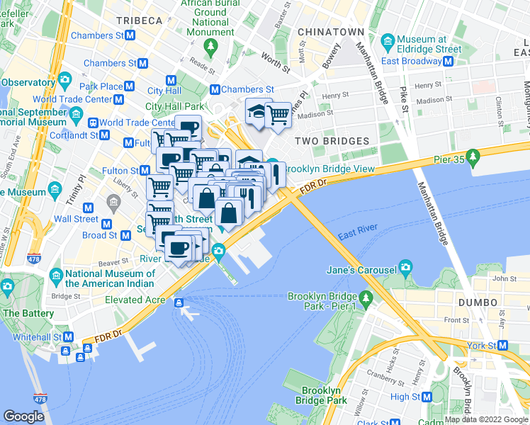 map of restaurants, bars, coffee shops, grocery stores, and more near East River Bikeway in New York