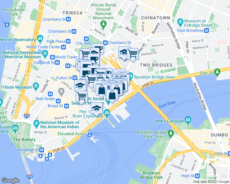 map of restaurants, bars, coffee shops, grocery stores, and more near 288 Pearl Street in New York