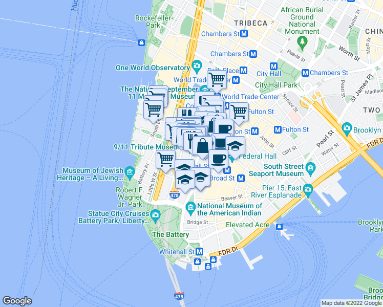 map of restaurants, bars, coffee shops, grocery stores, and more near Greenwich Street & Rector Street in New York