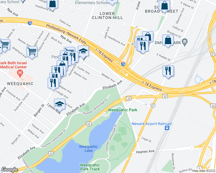 map of restaurants, bars, coffee shops, grocery stores, and more near Thomas Carmichael Drive in Newark