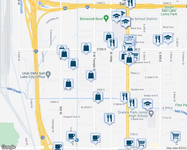 map of restaurants, bars, coffee shops, grocery stores, and more near 2852 South West Temple in South Salt Lake