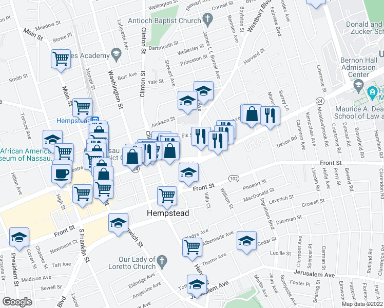 map of restaurants, bars, coffee shops, grocery stores, and more near 451 Fulton Avenue in Hempstead