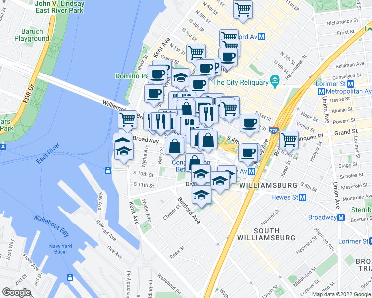 map of restaurants, bars, coffee shops, grocery stores, and more near 109 South 6th Street in Brooklyn