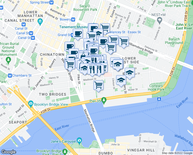 map of restaurants, bars, coffee shops, grocery stores, and more near 217 Madison Street in New York