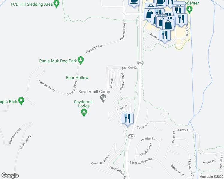 map of restaurants, bars, coffee shops, grocery stores, and more near 5573 Oslo Lane in Park City