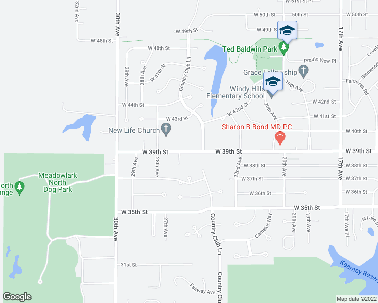 map of restaurants, bars, coffee shops, grocery stores, and more near 4100 Country Club Lane in Kearney