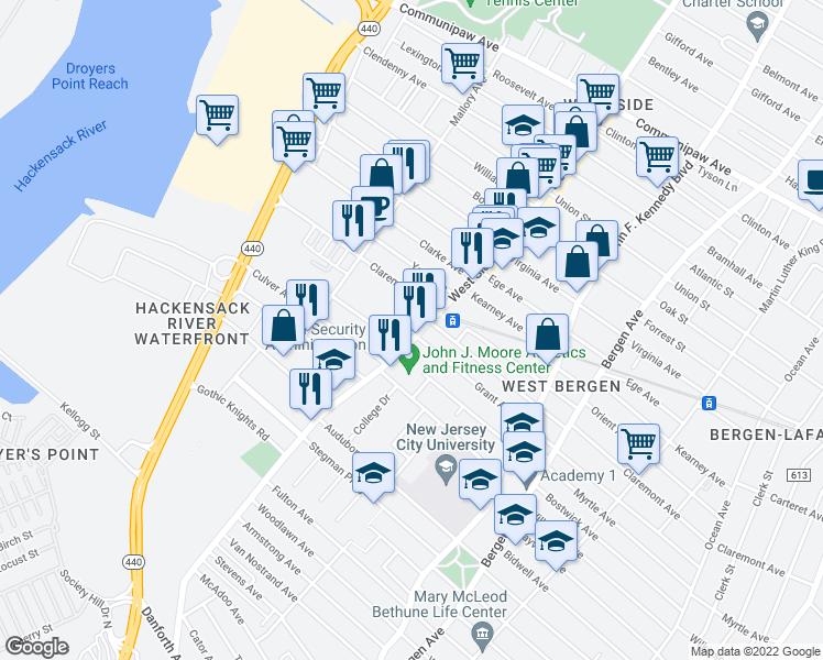map of restaurants, bars, coffee shops, grocery stores, and more near 319 Grant Avenue in Jersey City