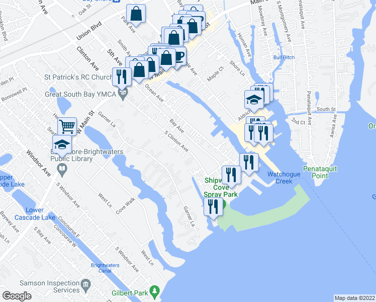 map of restaurants, bars, coffee shops, grocery stores, and more near 92 South Clinton Avenue in Bay Shore