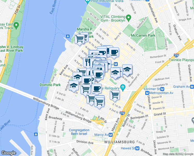 map of restaurants, bars, coffee shops, grocery stores, and more near 3rd Place in Brooklyn
