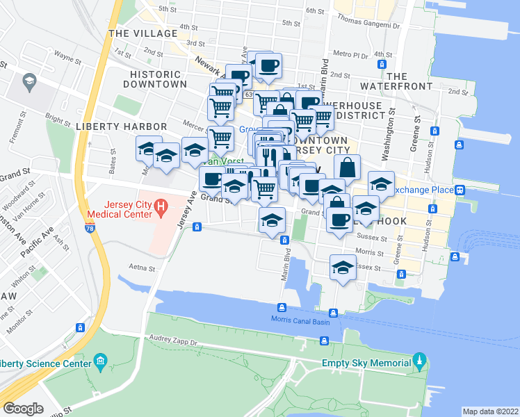 map of restaurants, bars, coffee shops, grocery stores, and more near 235 Grand Street in Jersey City