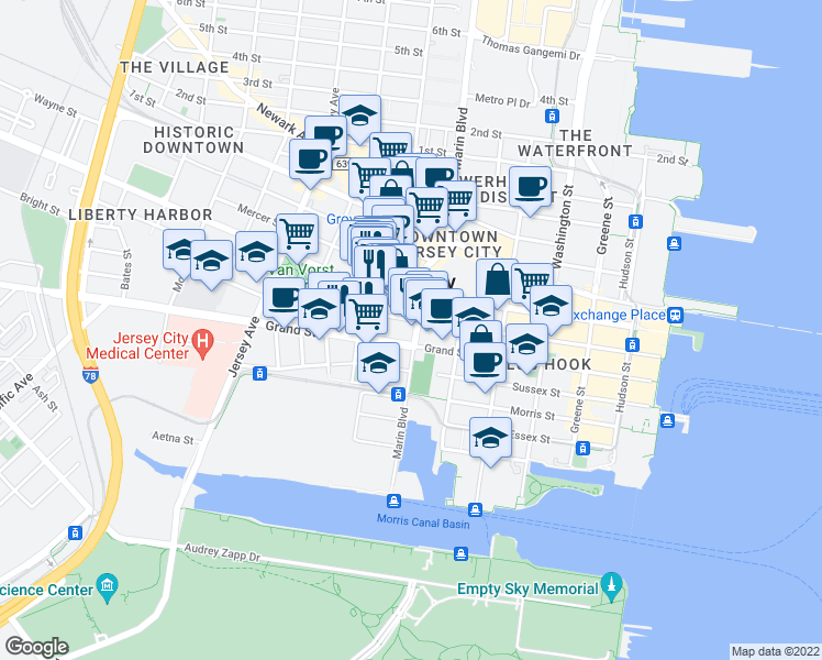 map of restaurants, bars, coffee shops, grocery stores, and more near 202 Grand Street in Jersey City
