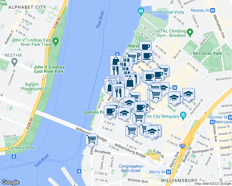 map of restaurants, bars, coffee shops, grocery stores, and more near 50 Metropolitan Avenue in Brooklyn