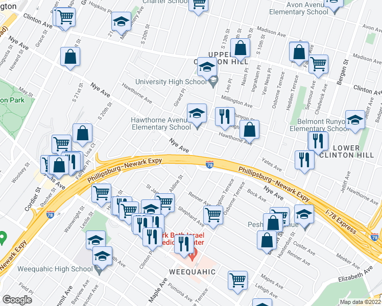 map of restaurants, bars, coffee shops, grocery stores, and more near 144 Clinton Place in Newark