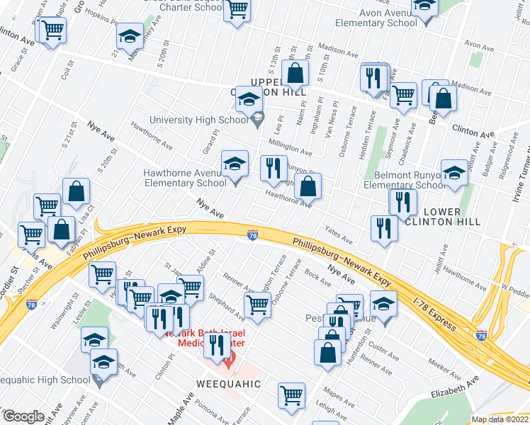 map of restaurants, bars, coffee shops, grocery stores, and more near 24 Patten Place in Newark