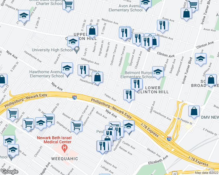 map of restaurants, bars, coffee shops, grocery stores, and more near 293 Hawthorne Avenue in Newark
