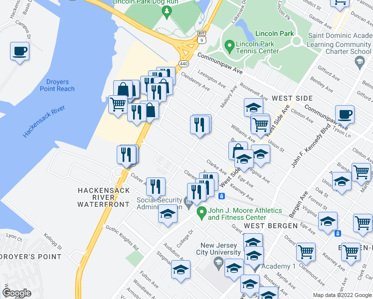 map of restaurants, bars, coffee shops, grocery stores, and more near 95 Clarke Avenue in Jersey City