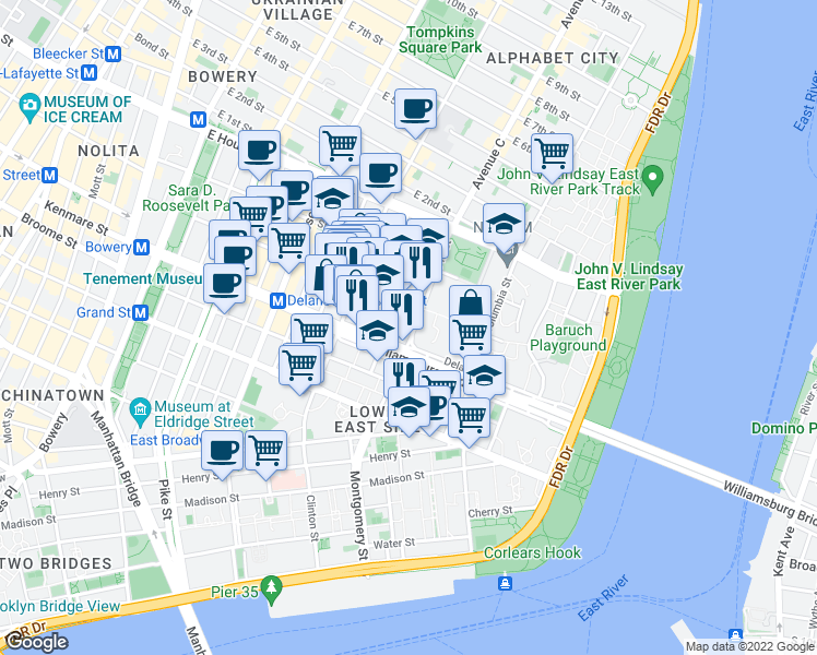 map of restaurants, bars, coffee shops, grocery stores, and more near 57 Pitt Street in New York