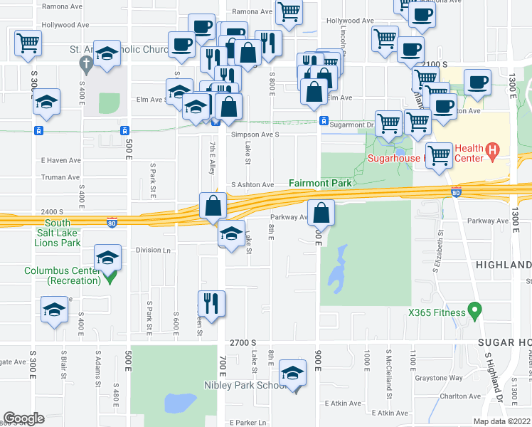 map of restaurants, bars, coffee shops, grocery stores, and more near 2400 South 800 East in Salt Lake City